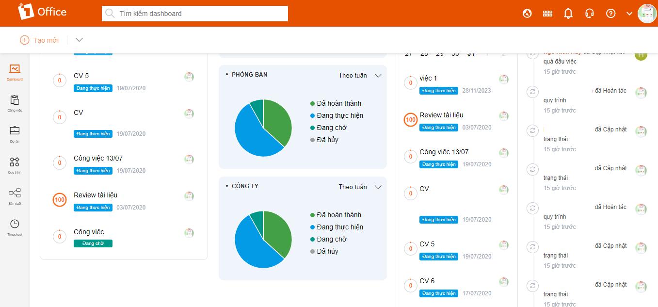 Phần mềm quản lý 1Office giúp hệ thống công việc dễ dàng