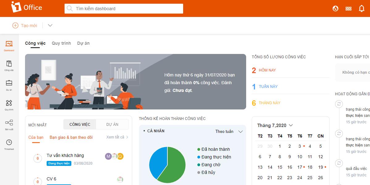 Phần mềm quản lý 1Office – Giao diện trực quan cho doanh nghiệp
