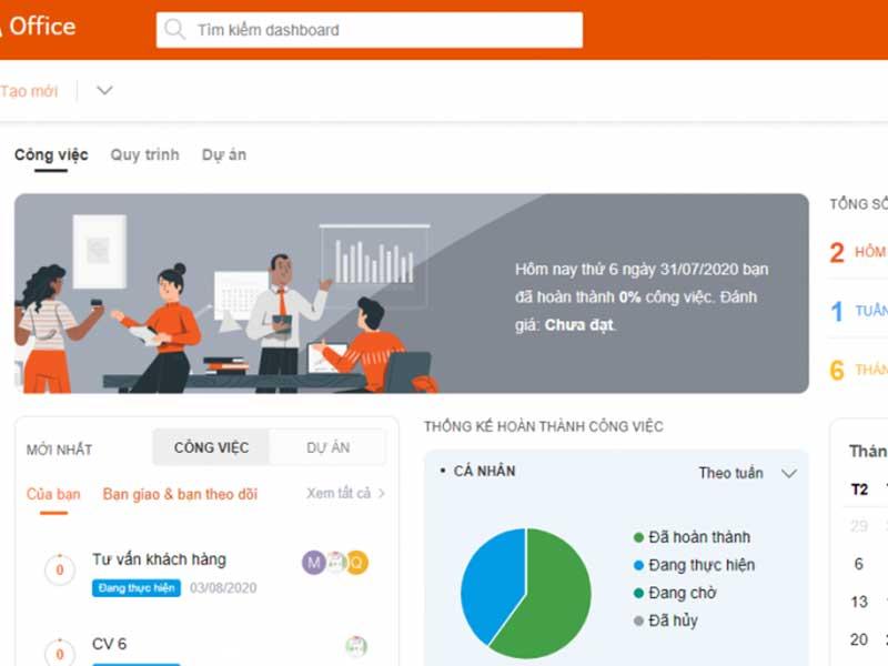 Phần mềm 1Office cho phép quản lý công việc, nhân sự, tài chính.. tích hợp