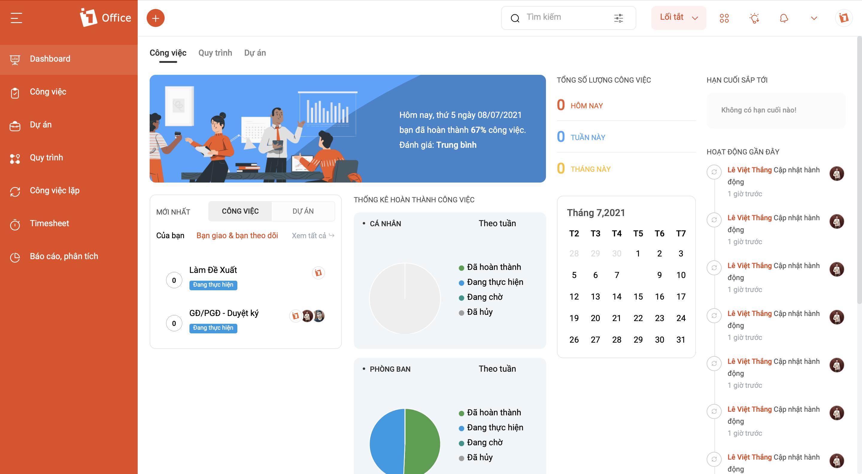1Office hỗ trợ bạn lập kế hoạch và thêm những thành viên liên quan để thực hiện. Bạn sẽ thường xuyên nhận thông báo nhắc nhở công việc và cũng có thể cập nhật tiến trình làm việc mỗi ngày.